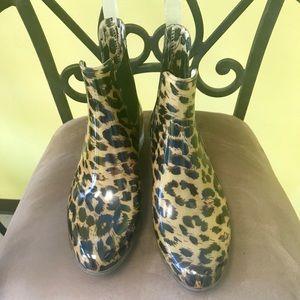 Animal print ankle rain boots